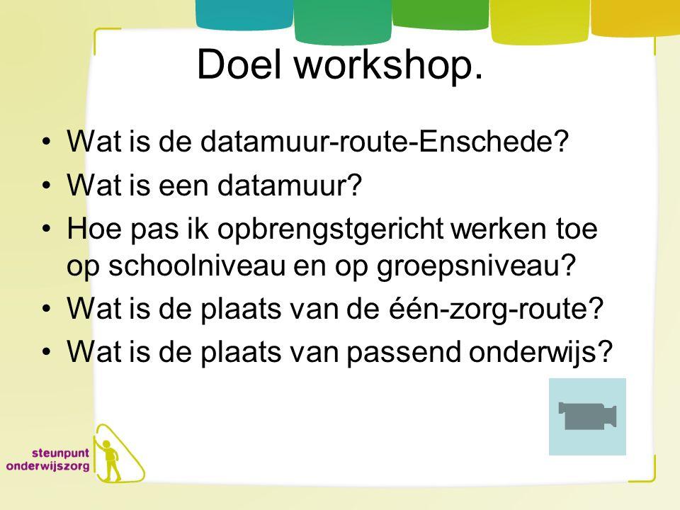 Doel workshop. Wat is de datamuur-route-Enschede Wat is een datamuur