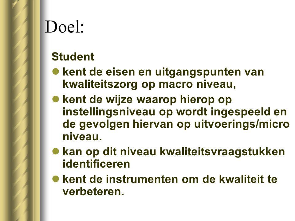 Doel: Student. kent de eisen en uitgangspunten van kwaliteitszorg op macro niveau,
