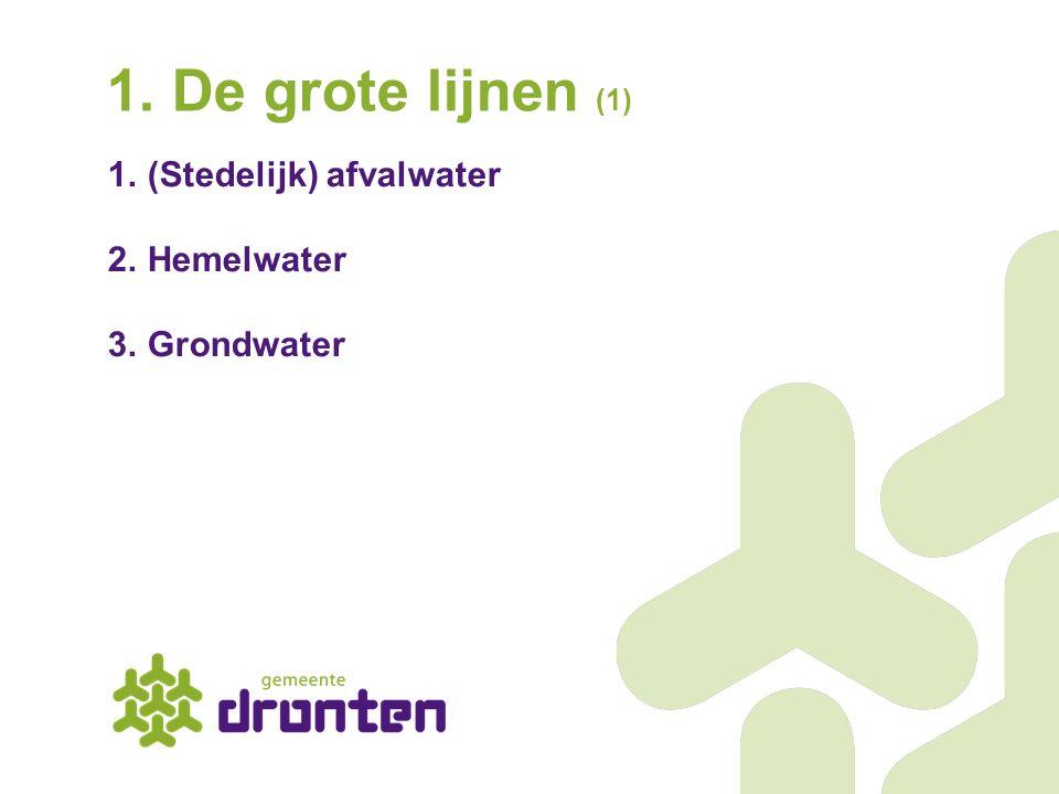 1. De grote lijnen (1) (Stedelijk) afvalwater Hemelwater Grondwater