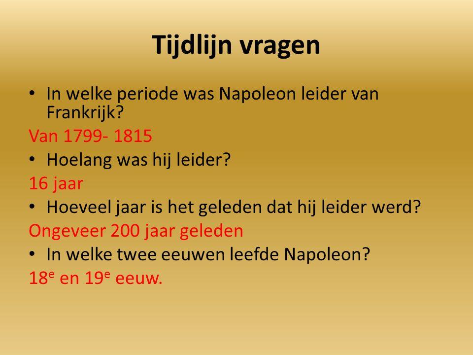 Tijdlijn vragen In welke periode was Napoleon leider van Frankrijk