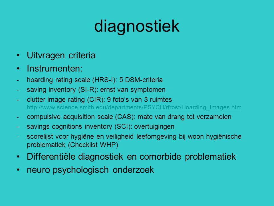 diagnostiek Uitvragen criteria Instrumenten: