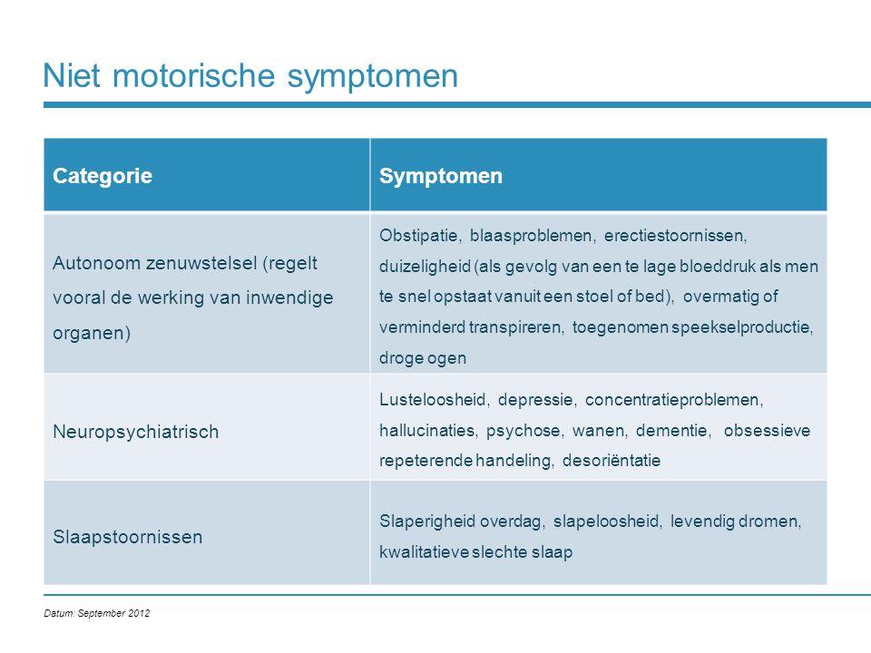 Niet motorische symptomen