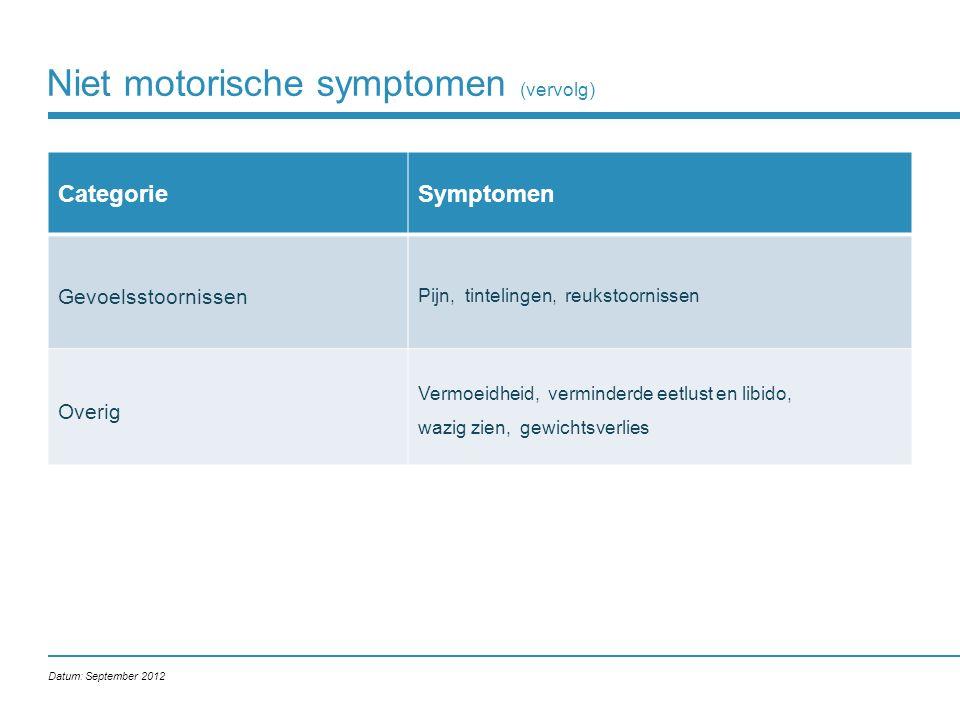 Niet motorische symptomen (vervolg)