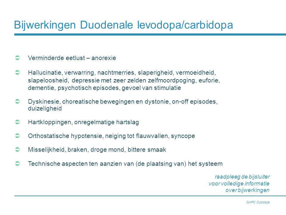 Bijwerkingen Duodenale levodopa/carbidopa