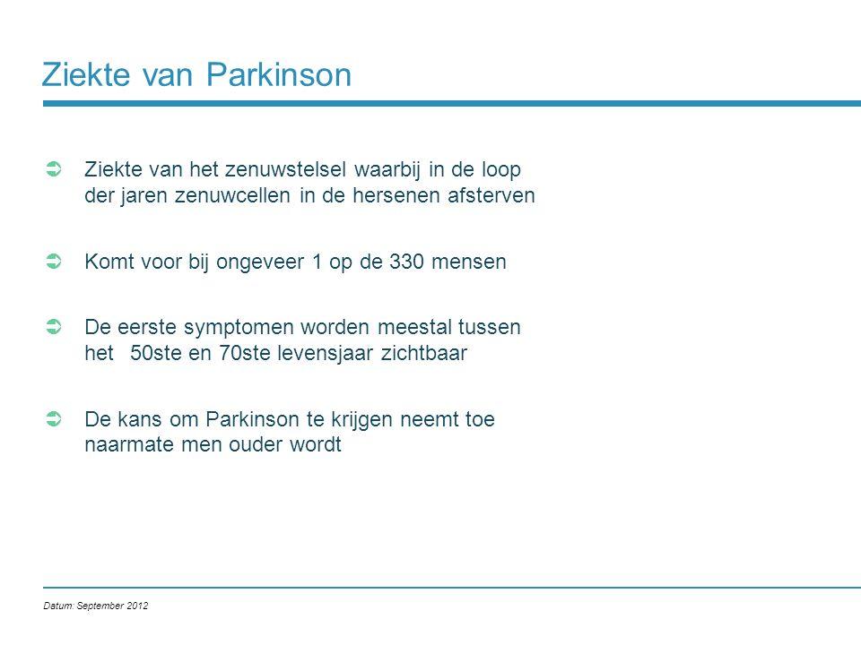 Ziekte van Parkinson Ziekte van het zenuwstelsel waarbij in de loop der jaren zenuwcellen in de hersenen afsterven.