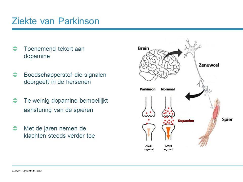 Ziekte van Parkinson Toenemend tekort aan dopamine