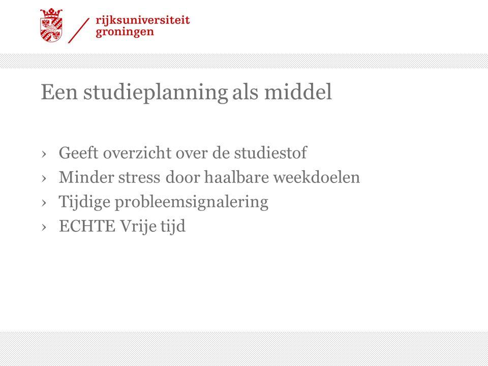 Een studieplanning als middel