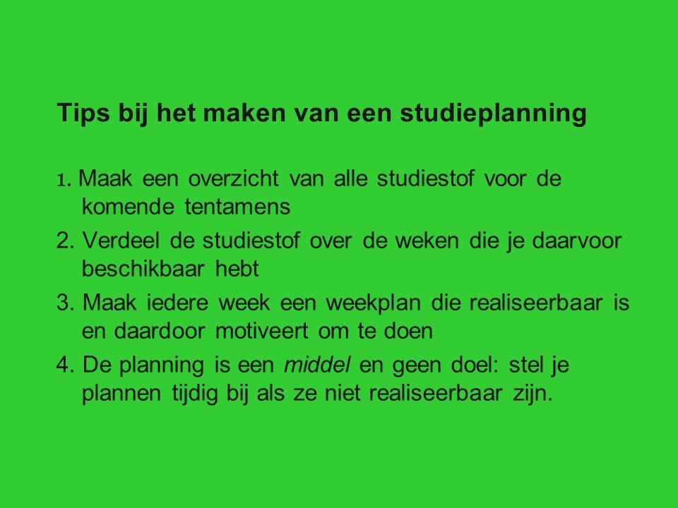 Tips bij het maken van een studieplanning