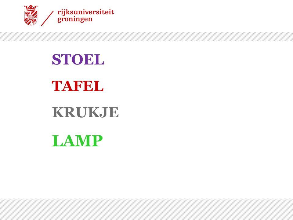 STOEL TAFEL KRUKJE LAMP