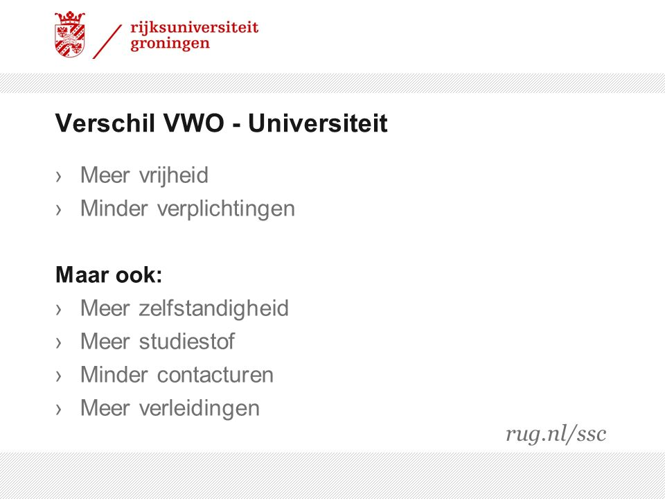 Verschil VWO - Universiteit
