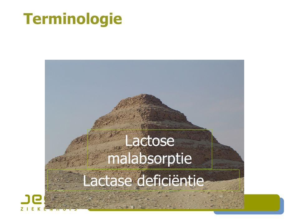Lactase deficiëntie Terminologie Lactose malabsorptie