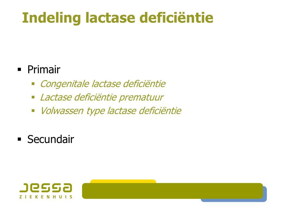 Indeling lactase deficiëntie