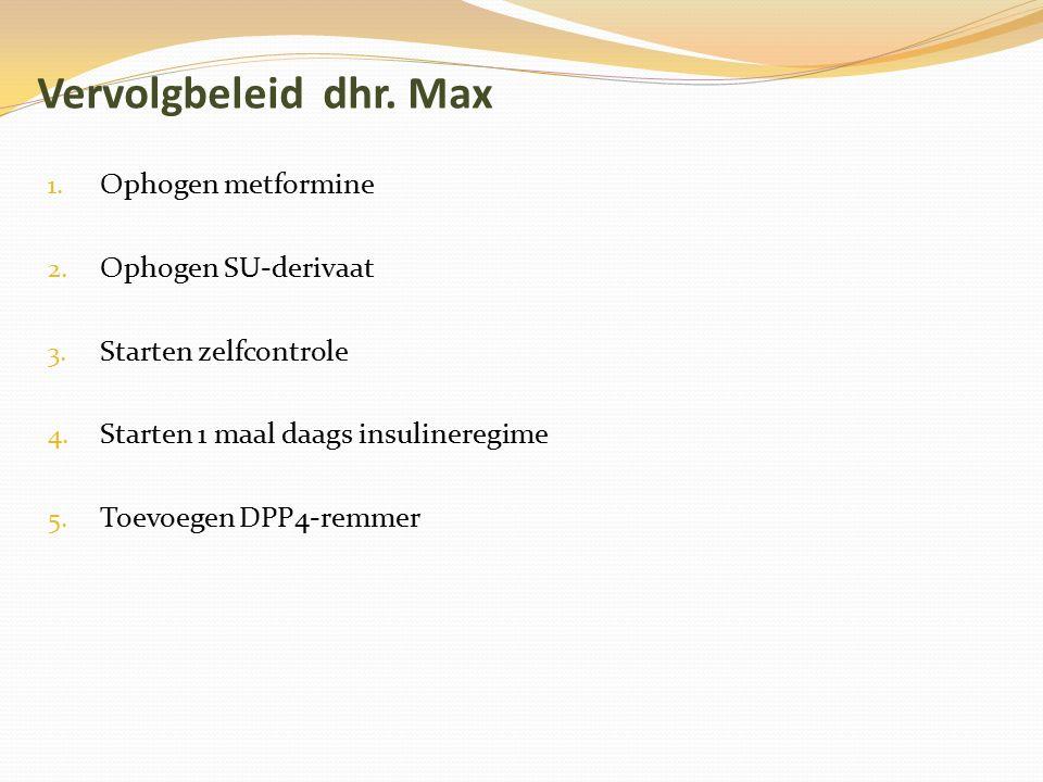 Vervolgbeleid dhr. Max Ophogen metformine Ophogen SU-derivaat
