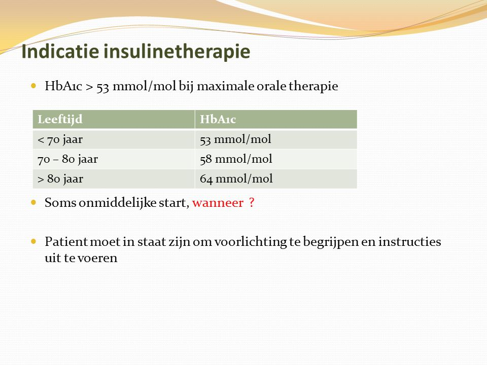 Indicatie insulinetherapie