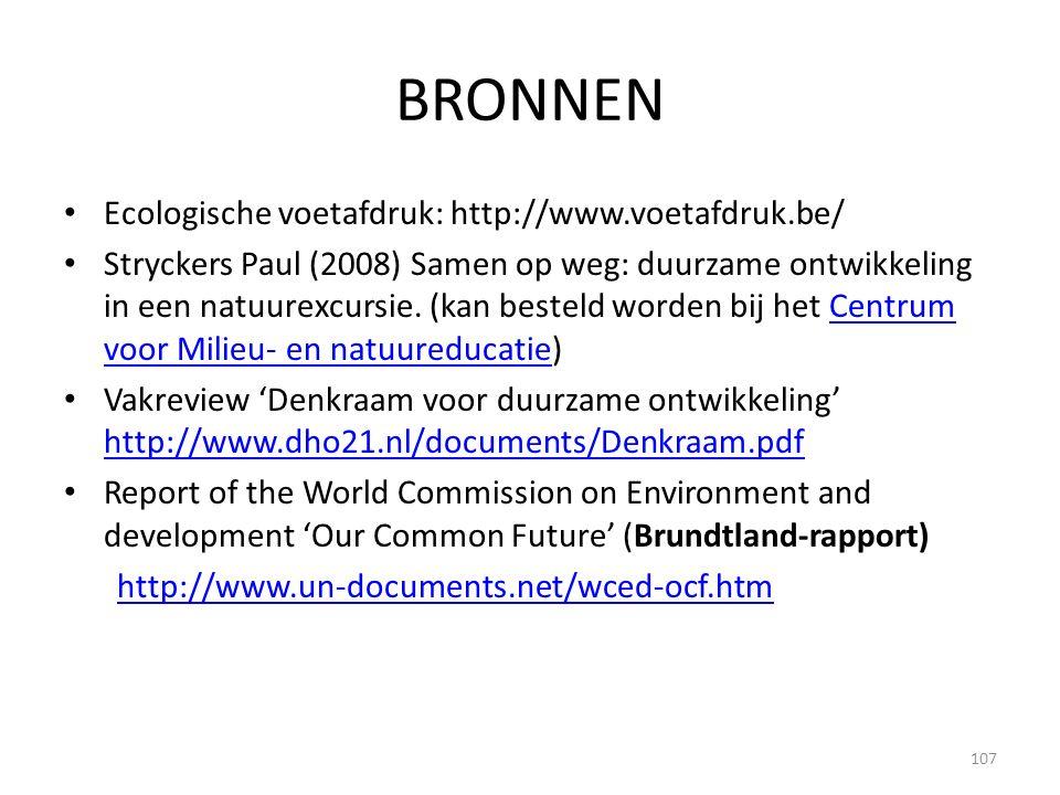 BRONNEN Ecologische voetafdruk: http://www.voetafdruk.be/