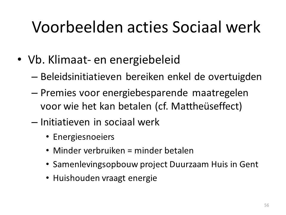 Voorbeelden acties Sociaal werk