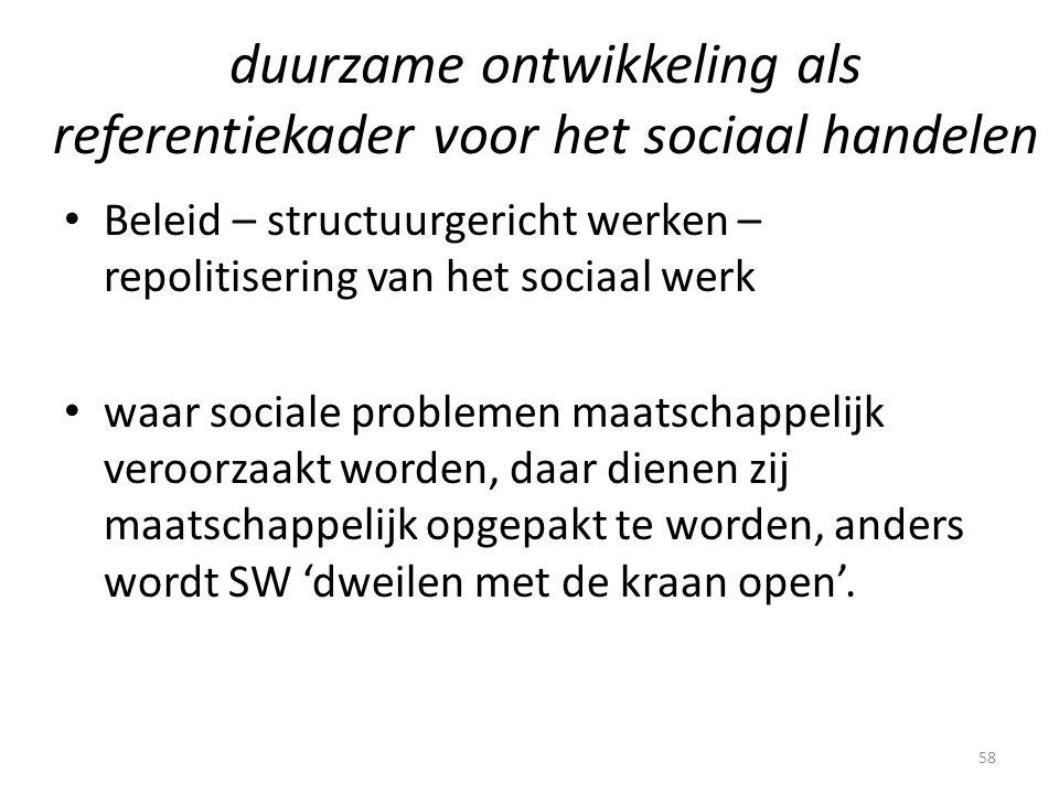 duurzame ontwikkeling als referentiekader voor het sociaal handelen