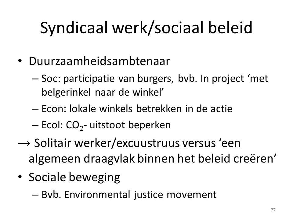 Syndicaal werk/sociaal beleid