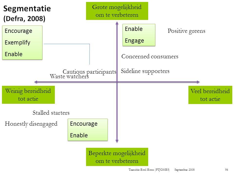 Segmentatie (Defra, 2008) Grote mogelijkheid om te verbeteren Enable