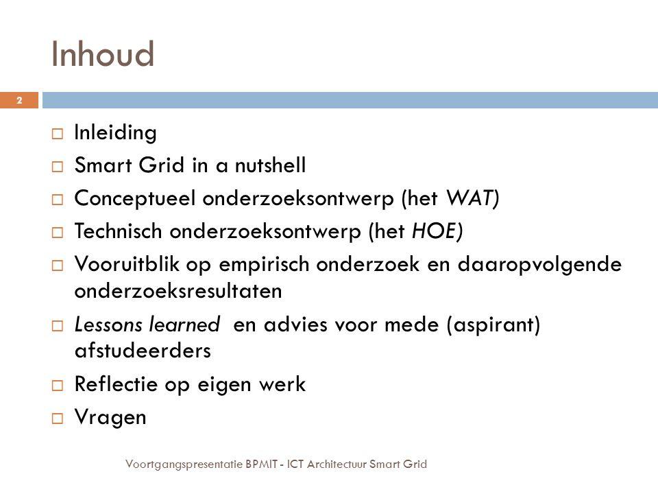 Inhoud Inleiding Smart Grid in a nutshell