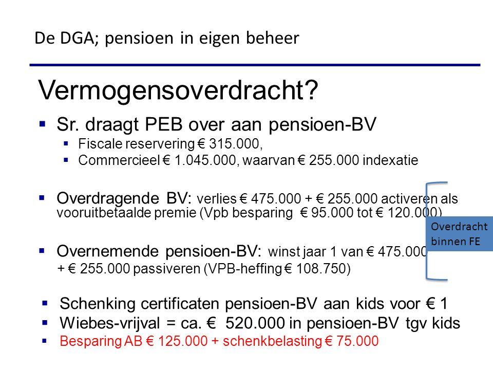 Vermogensoverdracht De DGA; pensioen in eigen beheer