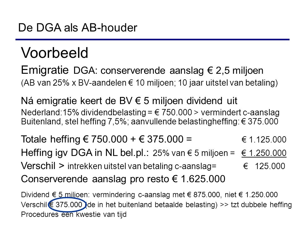 Voorbeeld De DGA als AB-houder