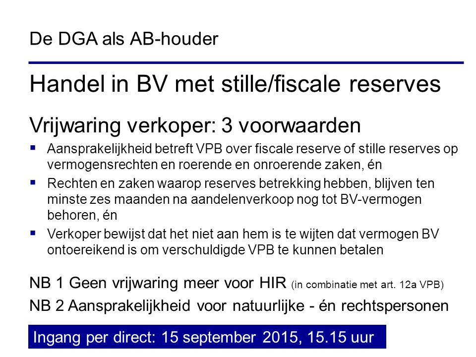 Handel in BV met stille/fiscale reserves