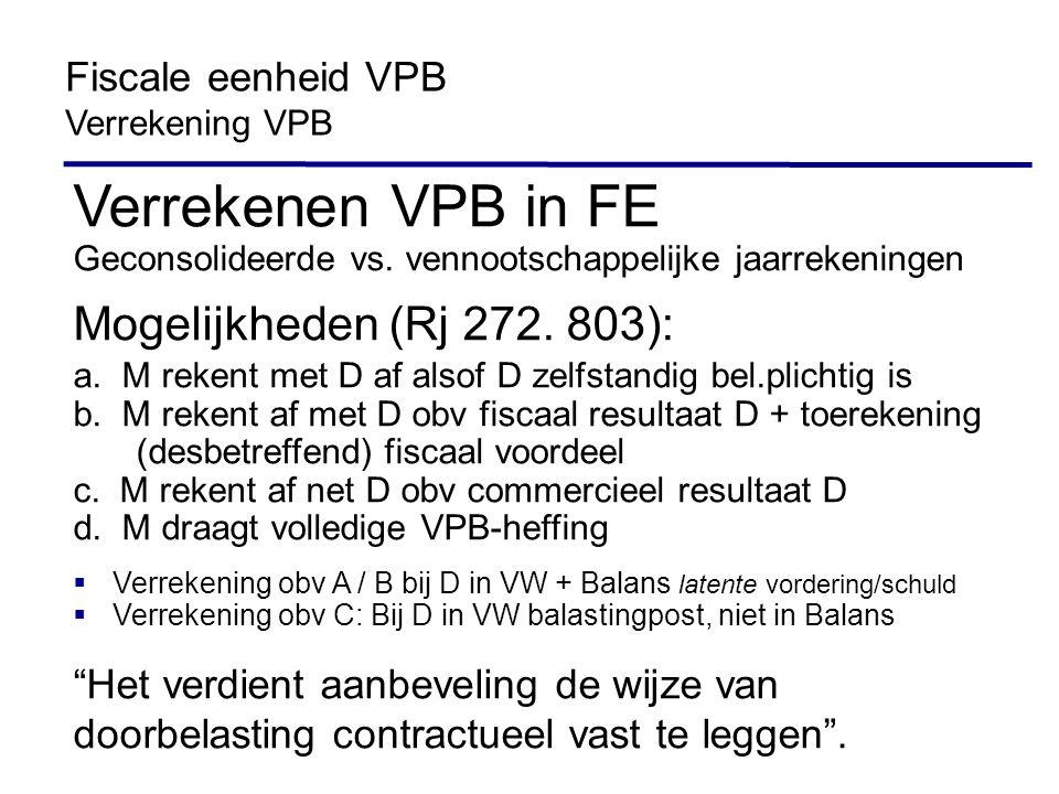 Verrekenen VPB in FE Mogelijkheden (Rj 272. 803): Fiscale eenheid VPB