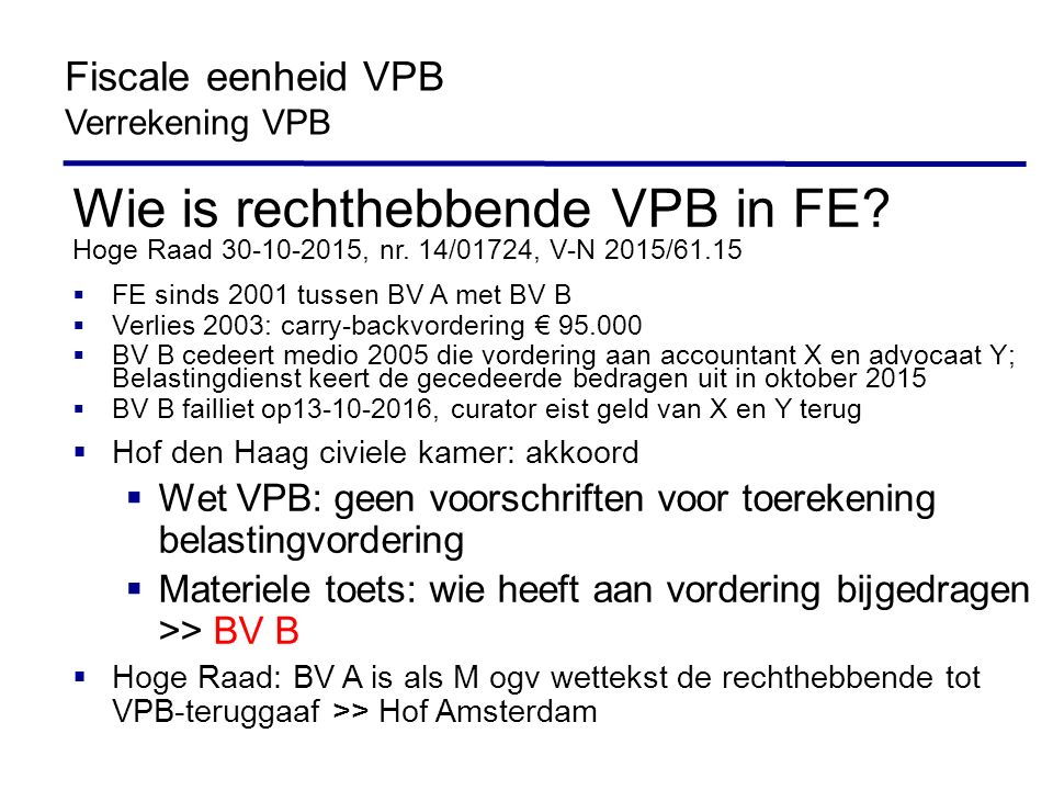 Wie is rechthebbende VPB in FE