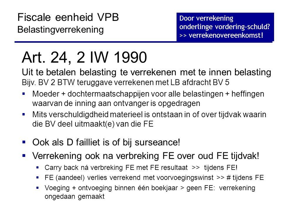 Art. 24, 2 IW 1990 Fiscale eenheid VPB Belastingverrekening