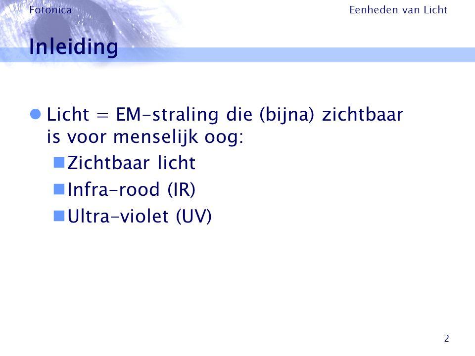 Inleiding Licht = EM-straling die (bijna) zichtbaar is voor menselijk oog: Zichtbaar licht. Infra-rood (IR)
