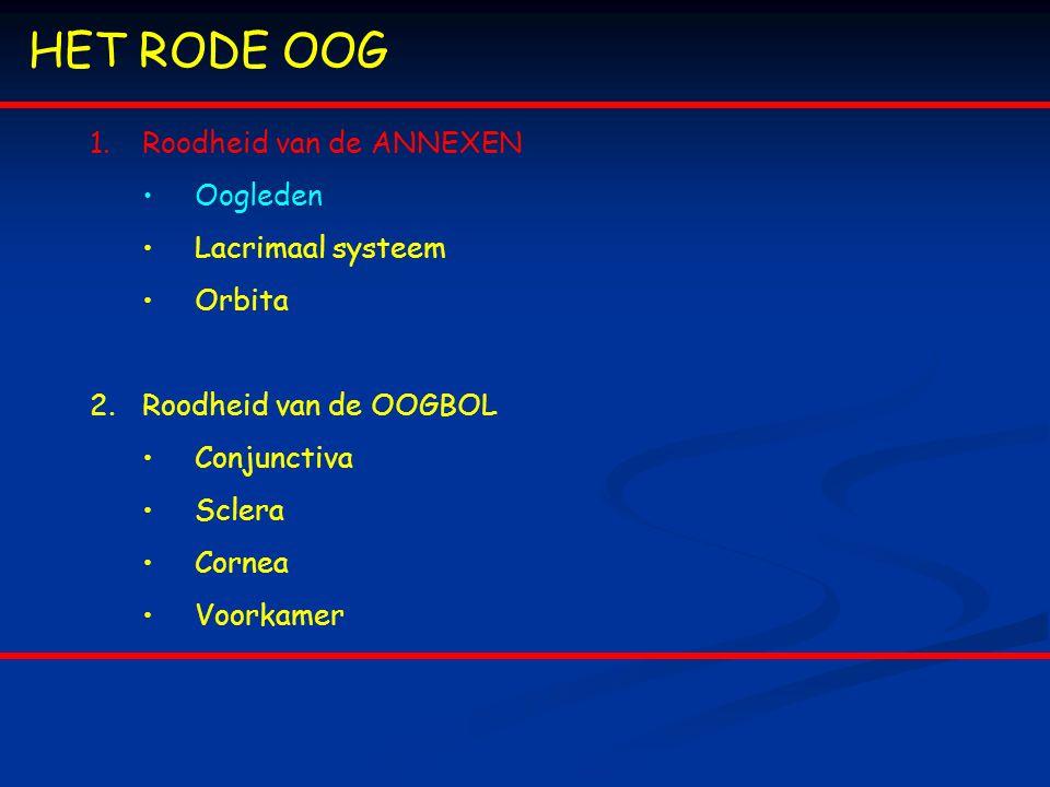 HET RODE OOG Roodheid van de ANNEXEN Oogleden Lacrimaal systeem Orbita