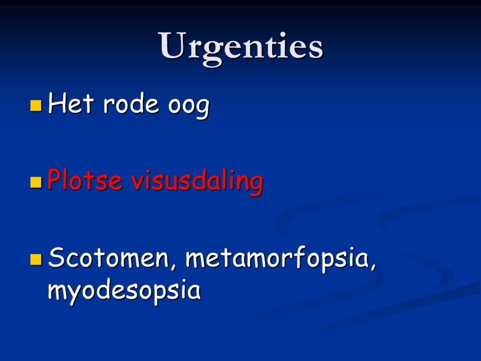 Urgenties Het rode oog Plotse visusdaling