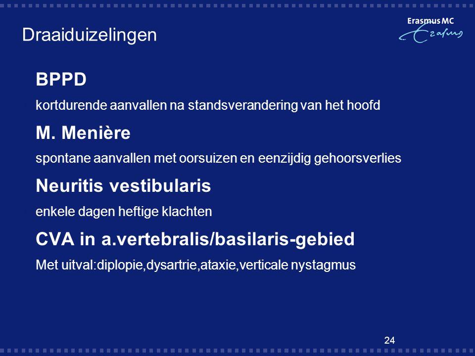 Neuritis vestibularis CVA in a.vertebralis/basilaris-gebied