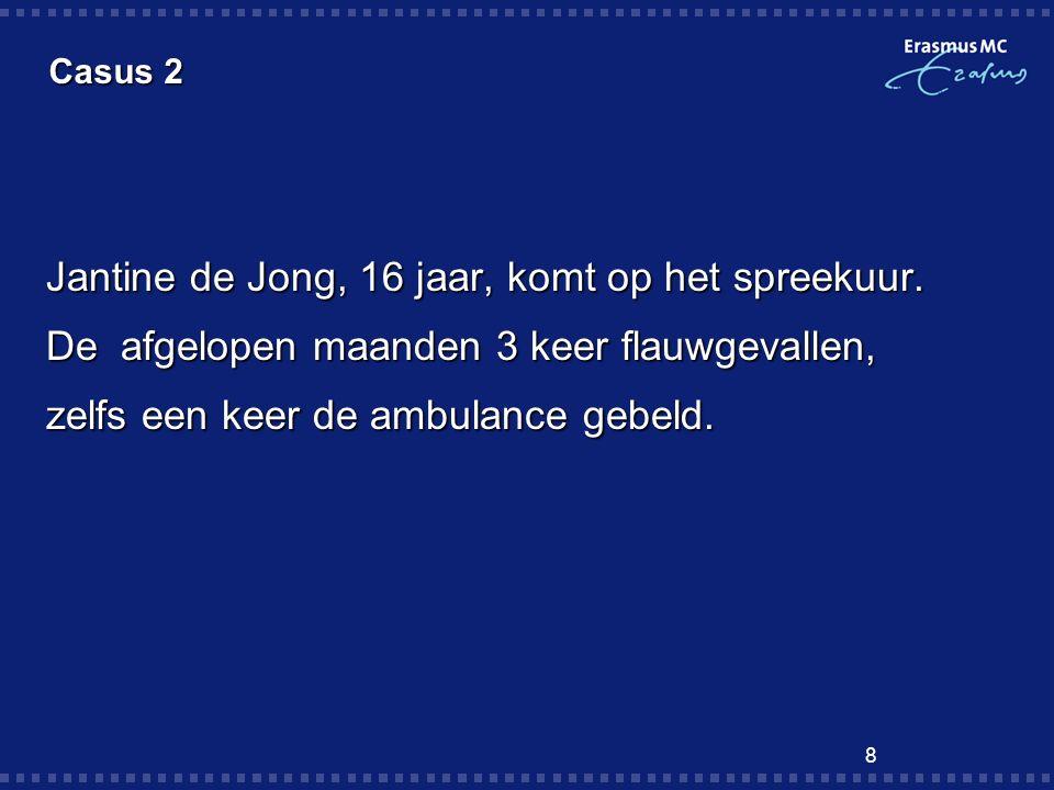 Jantine de Jong, 16 jaar, komt op het spreekuur.