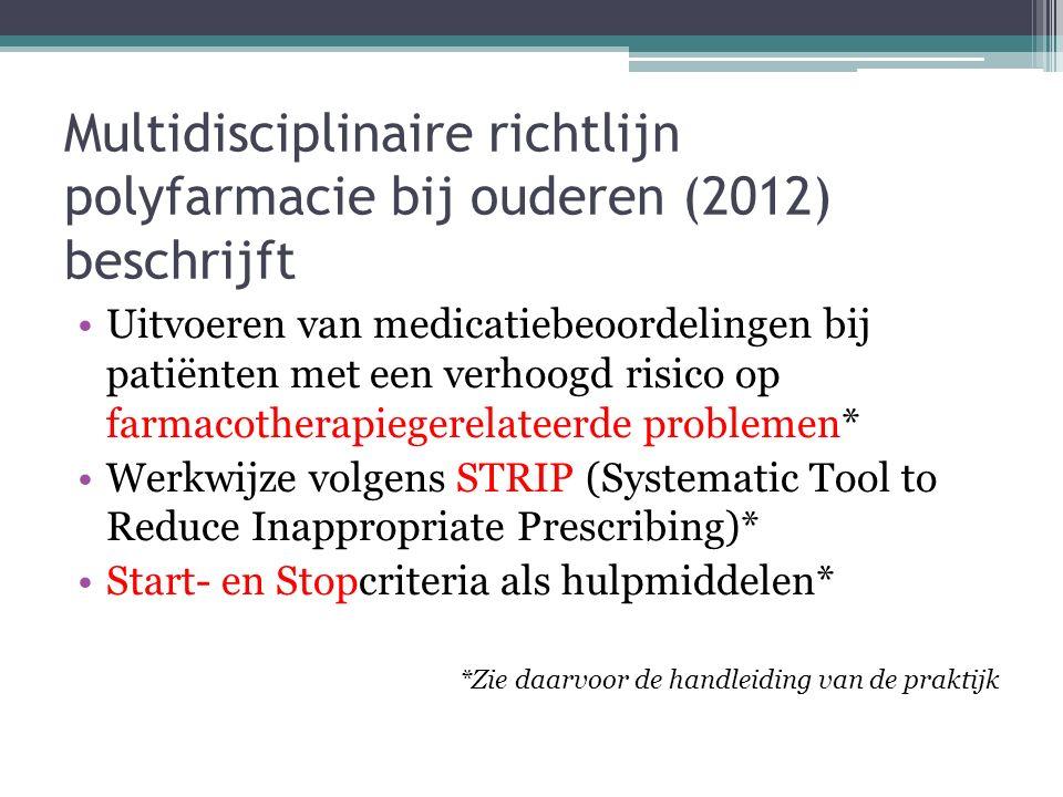Multidisciplinaire richtlijn polyfarmacie bij ouderen (2012) beschrijft