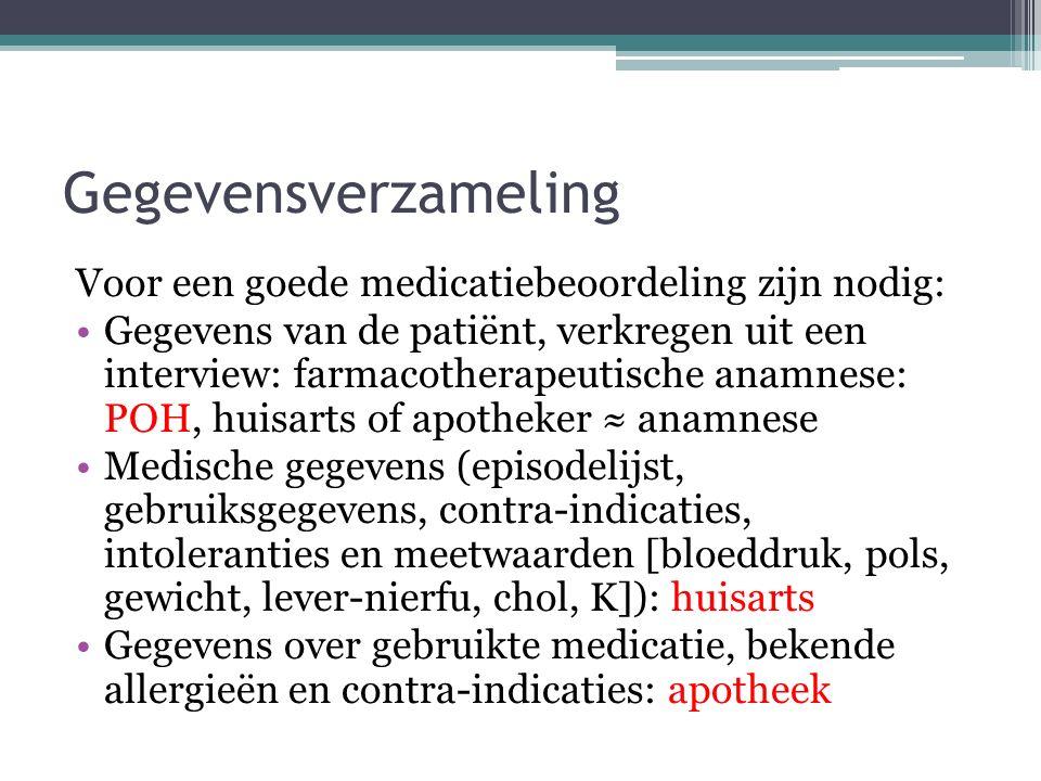 Gegevensverzameling Voor een goede medicatiebeoordeling zijn nodig: