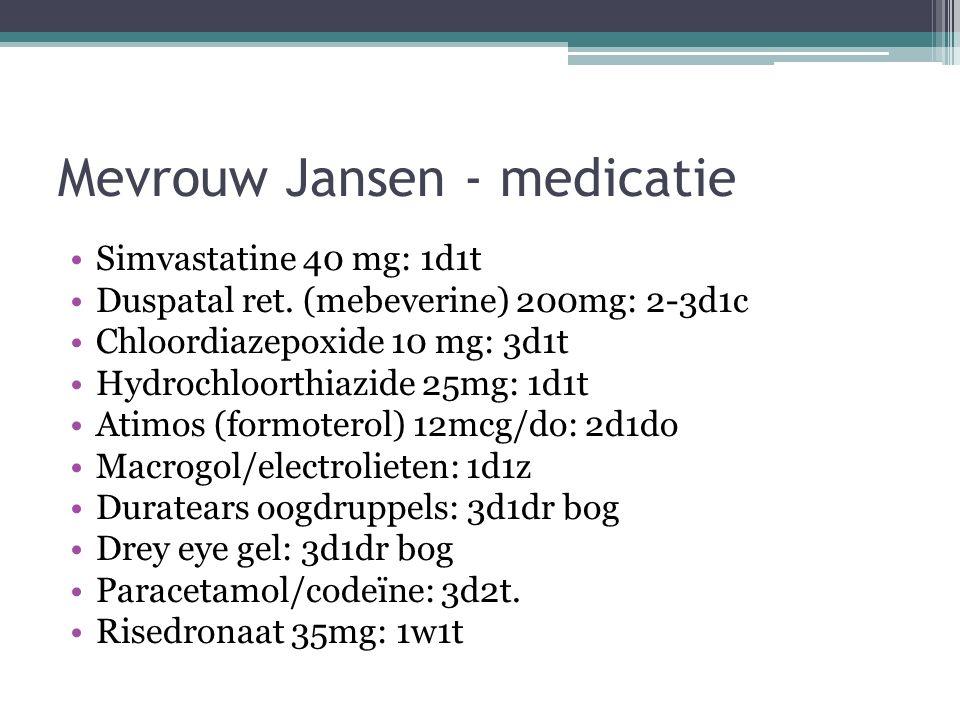 Mevrouw Jansen - medicatie