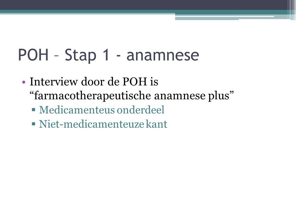 POH – Stap 1 - anamnese Interview door de POH is farmacotherapeutische anamnese plus Medicamenteus onderdeel.