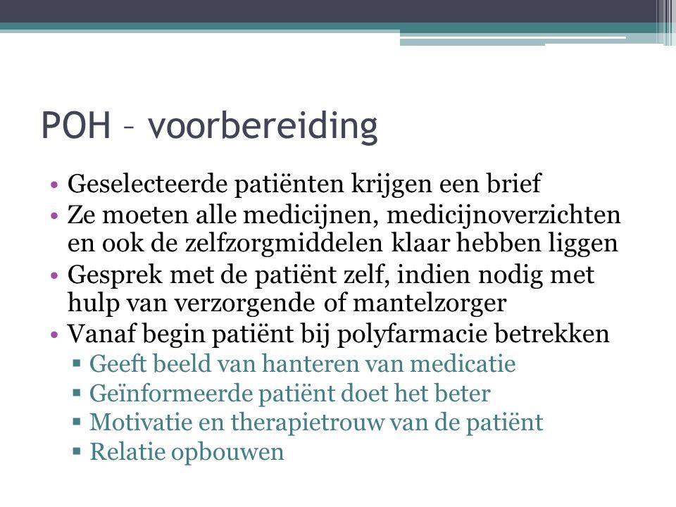 POH – voorbereiding Geselecteerde patiënten krijgen een brief