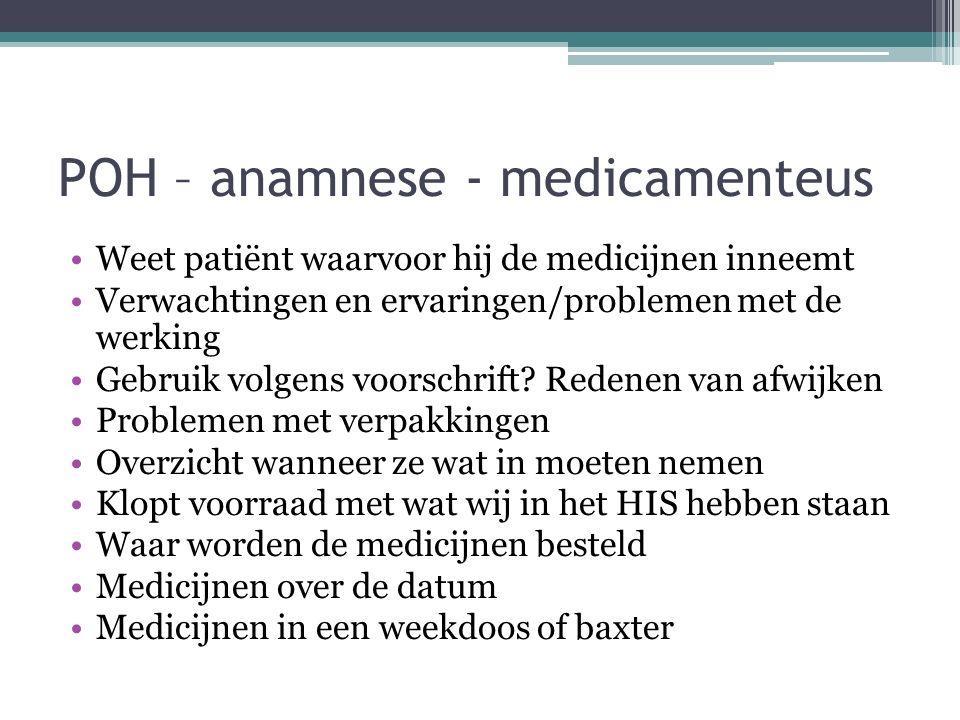 POH – anamnese - medicamenteus