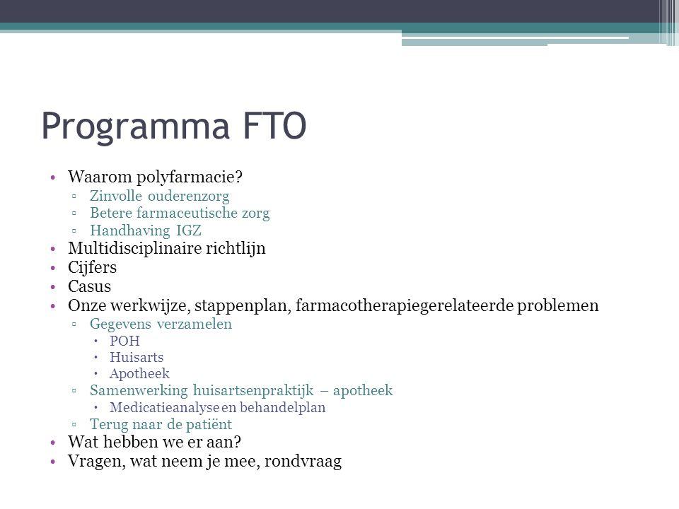 Programma FTO Waarom polyfarmacie Multidisciplinaire richtlijn