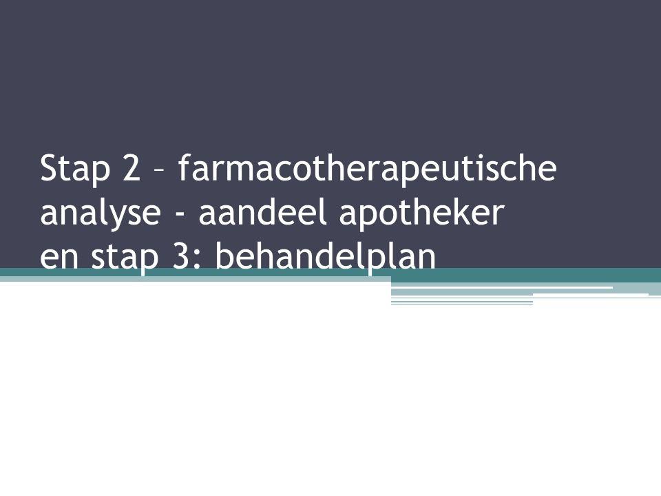 Stap 2 – farmacotherapeutische analyse - aandeel apotheker en stap 3: behandelplan