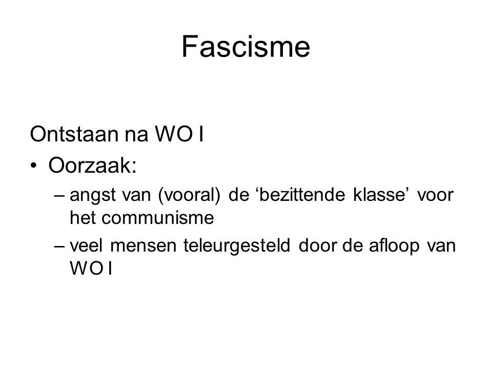 Fascisme Ontstaan na WO I Oorzaak: