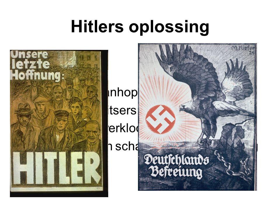 Hitlers oplossing Veel Duitsers wanhopig Hitler belooft Duitsers: