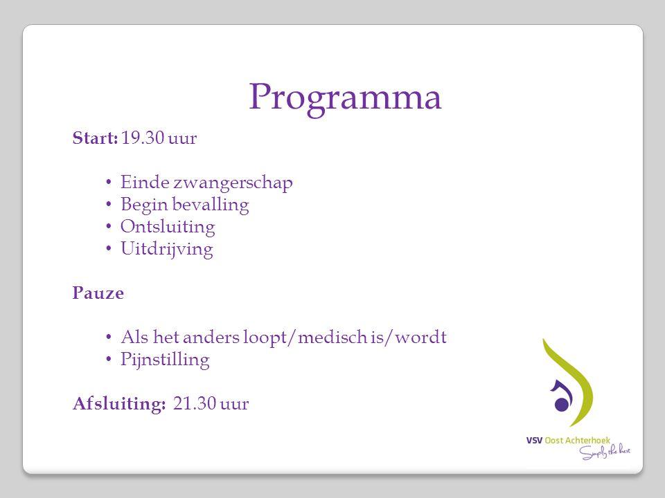 Programma Start: 19.30 uur Einde zwangerschap Begin bevalling