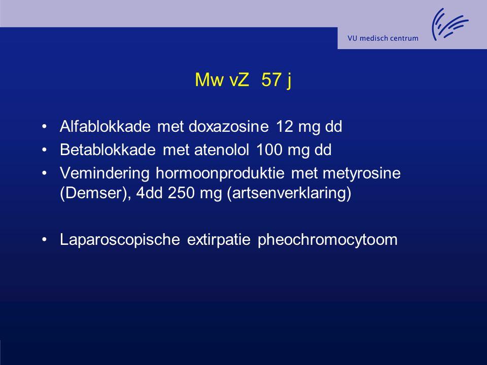 Mw vZ 57 j Alfablokkade met doxazosine 12 mg dd