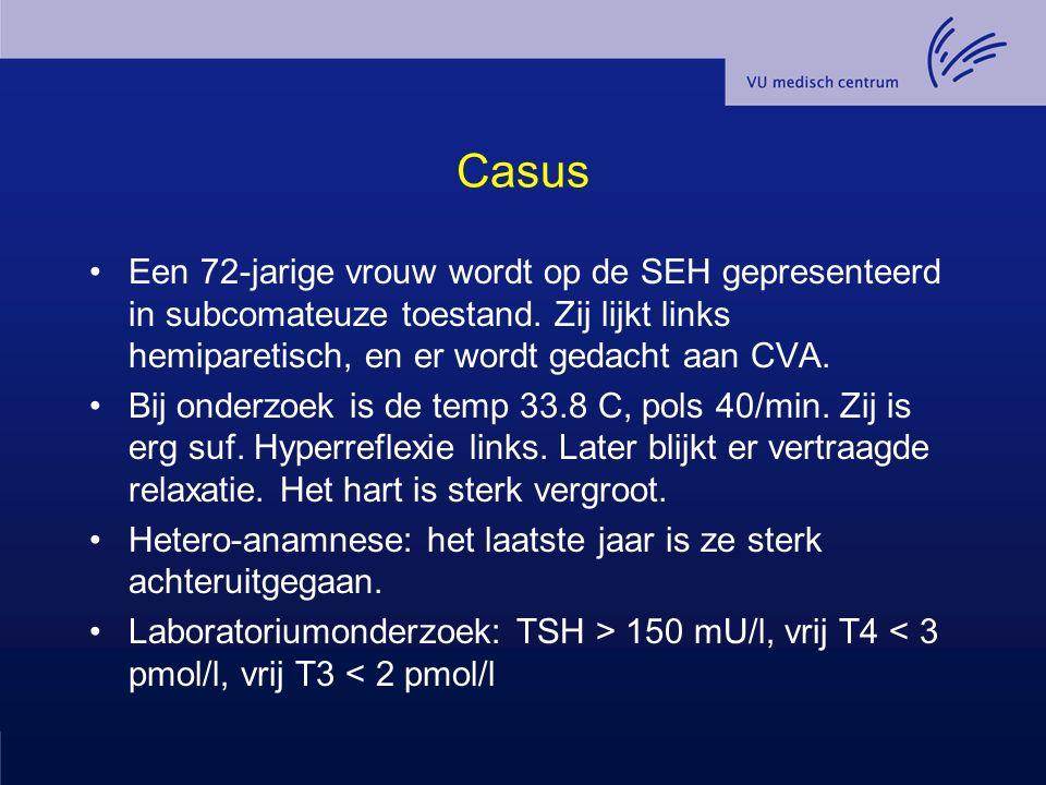 Casus Een 72-jarige vrouw wordt op de SEH gepresenteerd in subcomateuze toestand. Zij lijkt links hemiparetisch, en er wordt gedacht aan CVA.