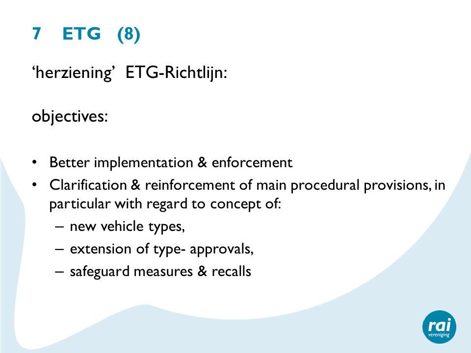 'herziening' ETG-Richtlijn: objectives: