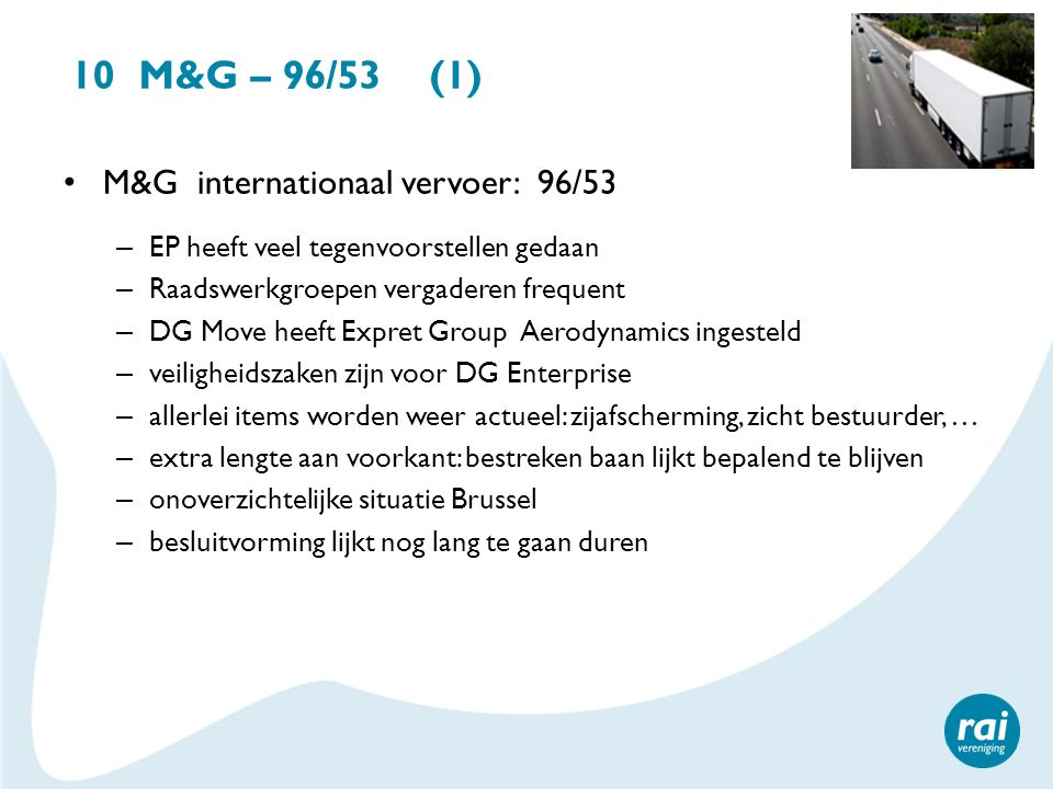10 M&G – 96/53 (1) M&G internationaal vervoer: 96/53